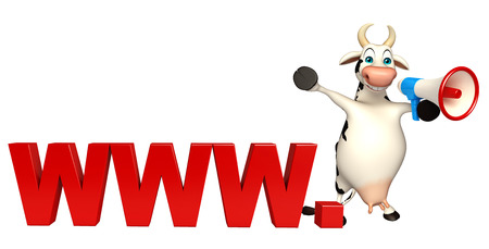 world agricultural: 3d rendered illustration of Cow cartoon character with loudspeaker and www. sign Stock Photo