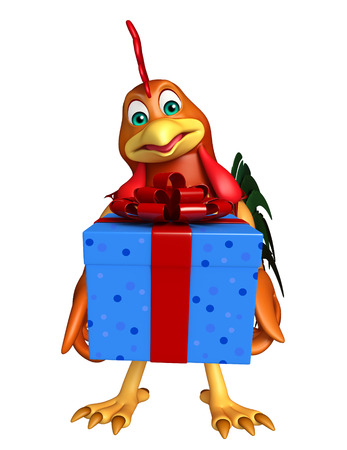 toonimal: 3d rendered illustration of Chicken cartoon character with gift box