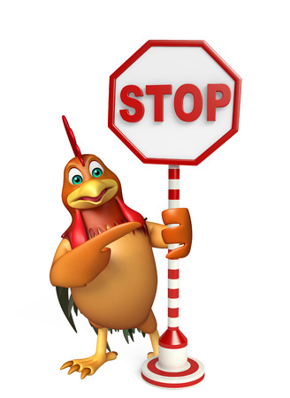 drive ticket: 3d rendered illustration of Chicken cartoon character with stop sign