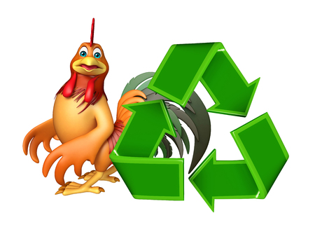 toonimal: 3d rendered illustration of Chicken cartoon character with recycle sign