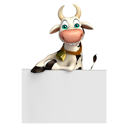 3d rendered illustration of Cow cartoon character with white board