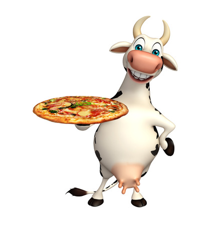 3d pizza: 3d rendered illustration of Cow cartoon character with pizza