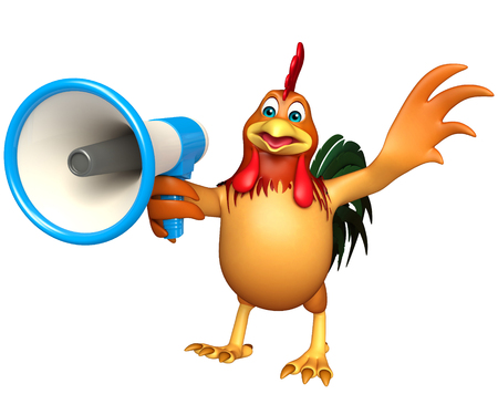 3d chicken: 3d rendered illustration of Chicken cartoon character  with loudspeaker