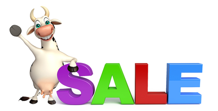 pastoral: 3d rendered illustration of Cow cartoon character with big sale