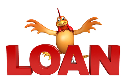 3d chicken: 3d rendered illustration of Chicken cartoon character with loan