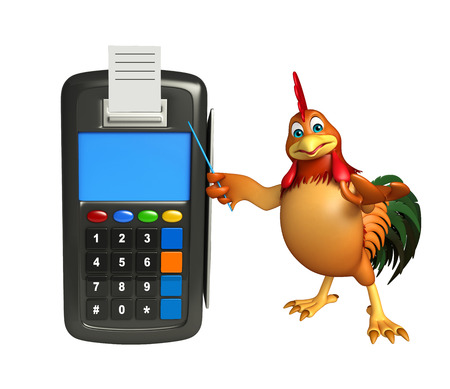 3d chicken: 3d rendered illustration of Chicken cartoon character with swap machine
