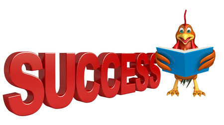 3d chicken: 3d rendered illustration of Chicken cartoon character with success sign Stock Photo