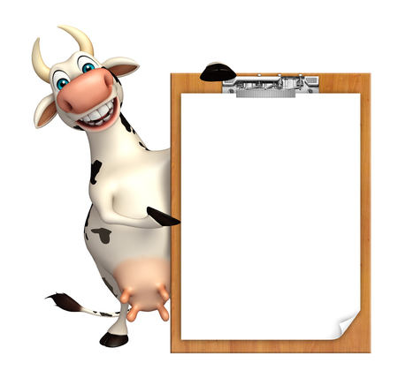 writing pad: 3d rendered illustration of Cow cartoon character exam pad