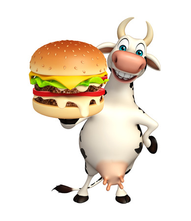 patty: 3d rendered illustration of Cow cartoon character with burger Stock Photo