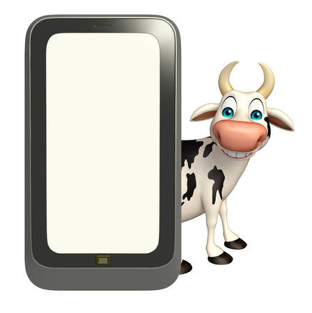 pastoral: 3d rendered illustration of Cow cartoon character with mobile Stock Photo
