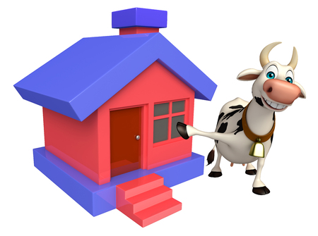 cheese cartoon: 3d rendered illustration of Cow cartoon character with home Stock Photo