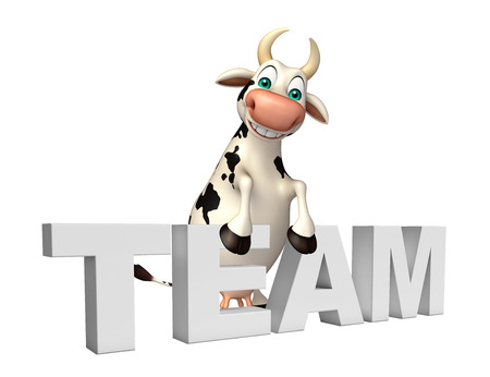 pastoral: 3d rendered illustration of Cow cartoon character with team sign