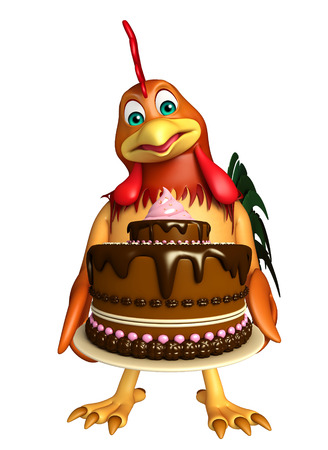 fudge: 3d rendered illustration of Chicken cartoon character with cake