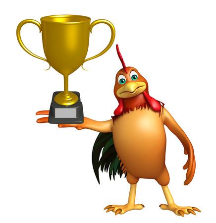3d chicken: 3d rendered illustration of Chicken cartoon character with winning cup
