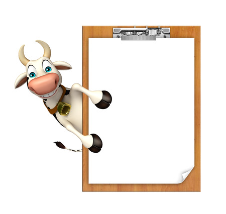 pastoral: 3d rendered illustration of Cow cartoon character exam pad