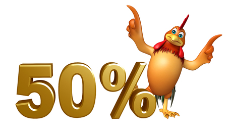 3d chicken: 3d rendered illustration of Chicken cartoon character with 50% sign