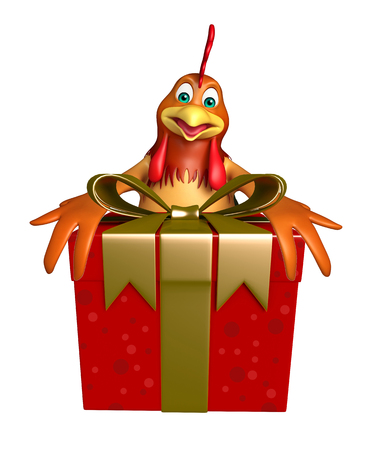 3d chicken: 3d rendered illustration of Chicken cartoon character with gift box