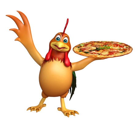 3d rendered illustration of Chicken cartoon character with pizza