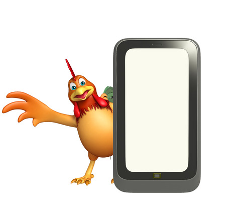 toonimal: 3d rendered illustration of Chicken cartoon character with mobile