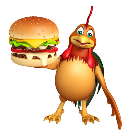 toonimal: 3d rendered illustration of Chicken cartoon character with burger Stock Photo