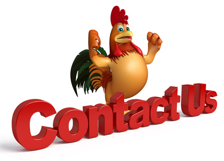 contact us sign: 3d rendered illustration of Chicken cartoon character with contact us sign Stock Photo