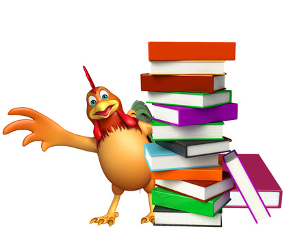 3d chicken: 3d rendered illustration of Chicken cartoon character with book stack Stock Photo