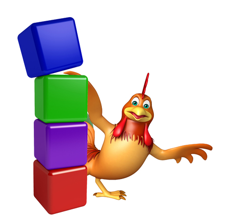 3d chicken: 3d rendered illustration of Chicken cartoon character with level Stock Photo