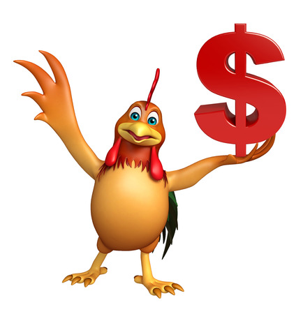 3d chicken: 3d rendered illustration of Chicken cartoon character with doller sign