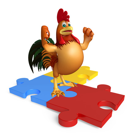 jig saw puzzle: 3d rendered illustration of Chicken cartoon character with puzzle Stock Photo