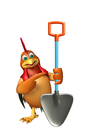 toonimal: 3d rendered illustration of Chicken cartoon character with digging shovel