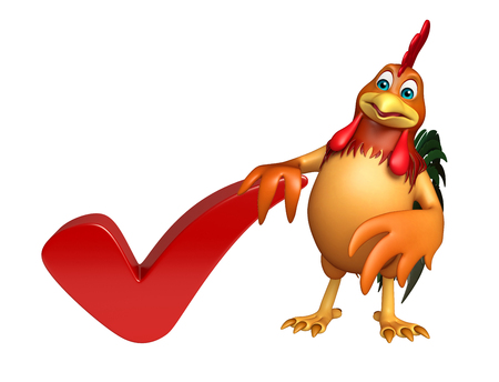 3d rendered illustration of Chicken cartoon character with right sign Stock Photo