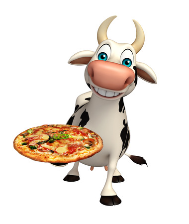 pastoral: 3d rendered illustration of Cow cartoon character with pizza