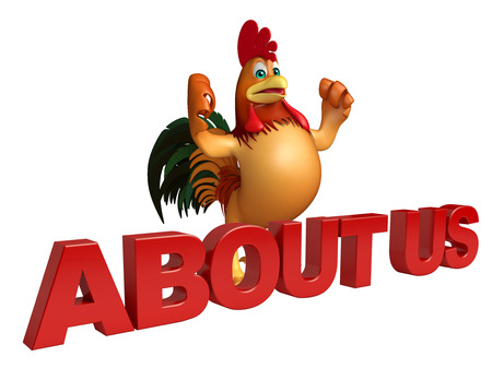 'about us': 3d rendered illustration of Chicken cartoon character with about us sign Stock Photo