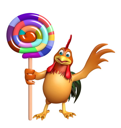 lollypop: 3d rendered illustration of Chicken cartoon character with lollypop