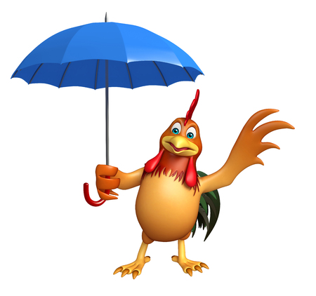 3d rendered illustration of Chicken cartoon character with umbrella