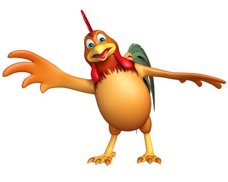 toonimal: 3d rendered illustration of Chicken funny cartoon character