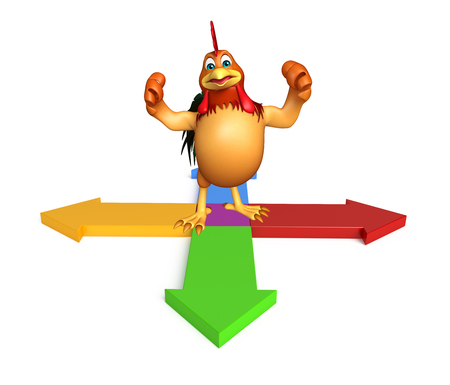 arrowhead: 3d rendered illustration of Chicken cartoon character with arrow sign