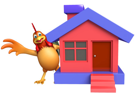 toonimal: 3d rendered illustration of Chicken cartoon character with home