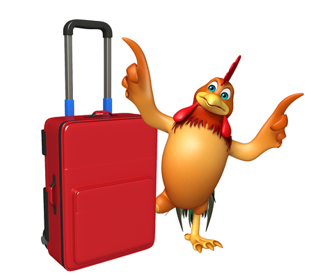 3d chicken: 3d rendered illustration of Chicken cartoon character with travel bag