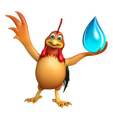toonimal: 3d rendered illustration of Chicken cartoon character with water drop Stock Photo