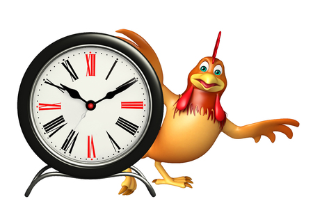 3d rendered illustration of Chicken cartoon character with clock Фото со стока