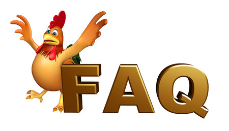 toonimal: 3d rendered illustration of Chicken cartoon character with FAQ sign Stock Photo