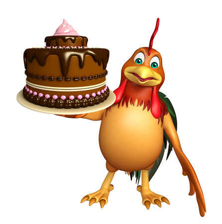 3d chicken: 3d rendered illustration of Chicken cartoon character with cake
