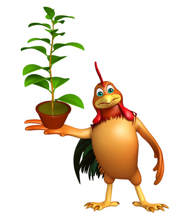 chlorophyll: 3d rendered illustration of Chicken cartoon character with plant