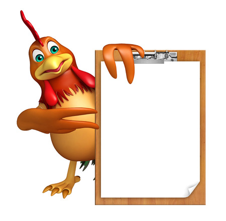 3d chicken: 3d rendered illustration of Chicken cartoon character with exam pad