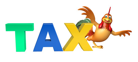 obligation: 3d rendered illustration of Chicken cartoon character with tax sign