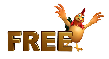 3d chicken: 3d rendered illustration of Chicken cartoon character with free sign