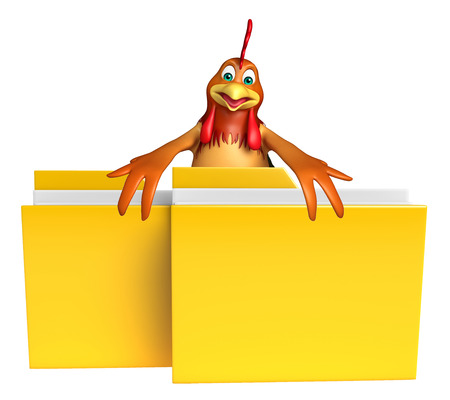 toonimal: 3d rendered illustration of Chicken cartoon character with folder