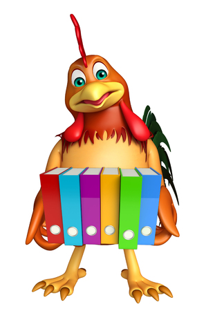 dossier: 3d rendered illustration of Chicken cartoon character with files