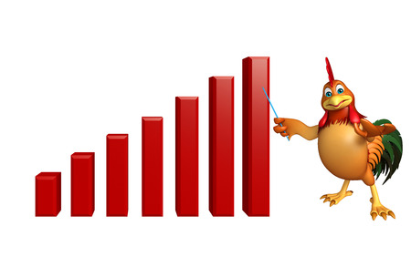 3d chicken: 3d rendered illustration of Chicken cartoon character with graph